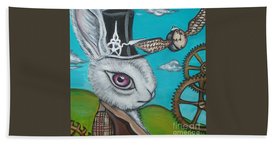 Alice In Wonderland Hand Towel featuring the painting Time Flies For The White Rabbit by Jaz Higgins