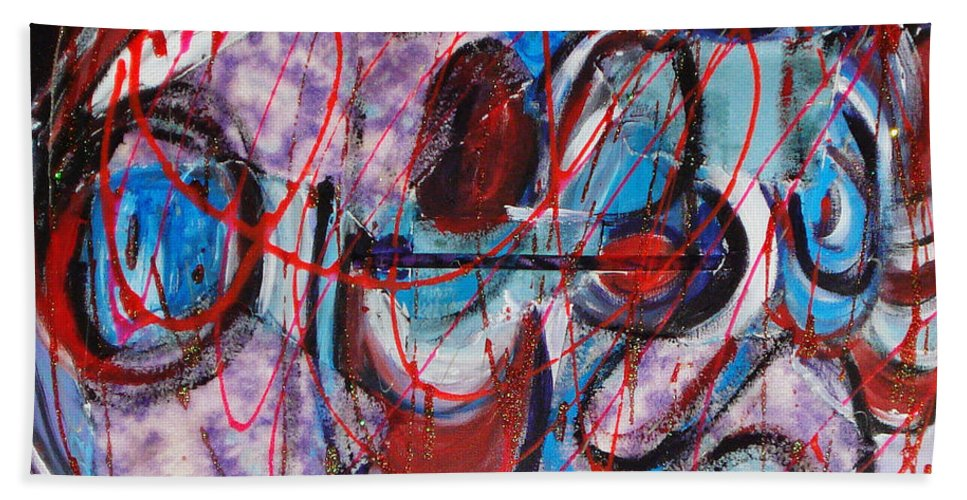 Acrylic Abstract Hand Towel featuring the painting Time Goes By by Yael VanGruber