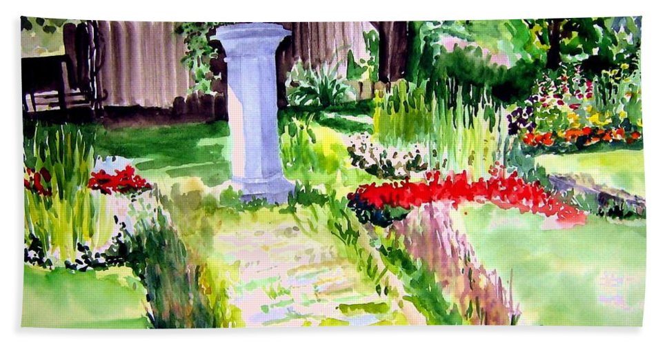 Park Bath Towel featuring the painting Time In A Garden by Sandy Ryan