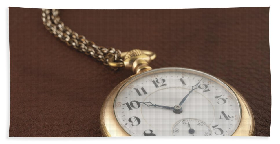 Pocket Watch Bath Sheet featuring the photograph Time by Jerry McElroy