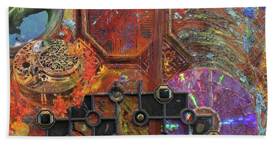 Assemblage Painting Bath Towel featuring the painting Time Passage I by Elaine Booth-Kallweit