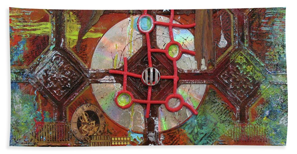 Assemblage Painting Hand Towel featuring the painting Time Passage II by Elaine Booth-Kallweit