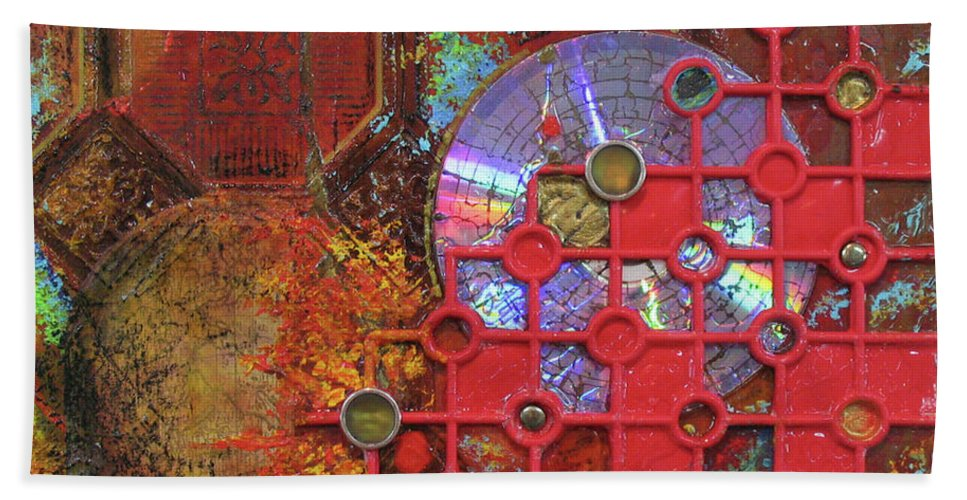 Assemblage Painting Hand Towel featuring the painting Time Passage III by Elaine Booth-Kallweit