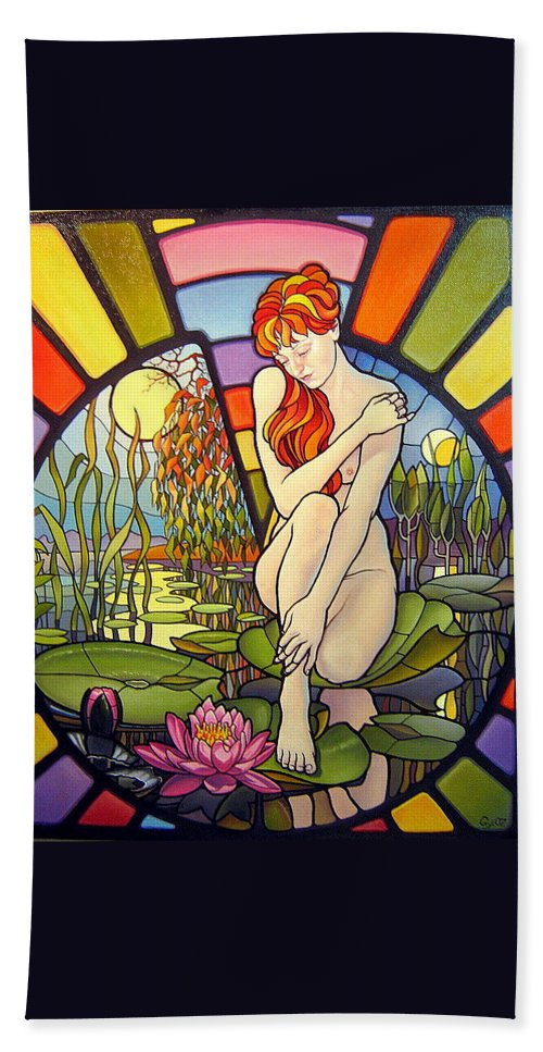 Art Oil Painting Canvas Stained Glass Woman Time Hand Towel featuring the painting Time Passing By by Gyuri Lohmuller