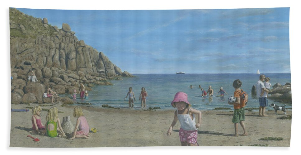 Seascape Hand Towel featuring the painting Time To Go Home - Porthgwarra Beach Cornwall by Richard Harpum