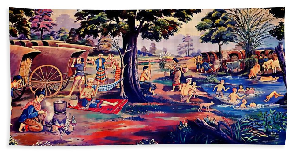 Thailand Hand Towel featuring the painting Time To Relax And Have Some Fun by Ian Gledhill