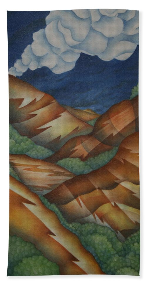 Mountains Hand Towel featuring the painting Time To Seek Shelter by Jeniffer Stapher-Thomas