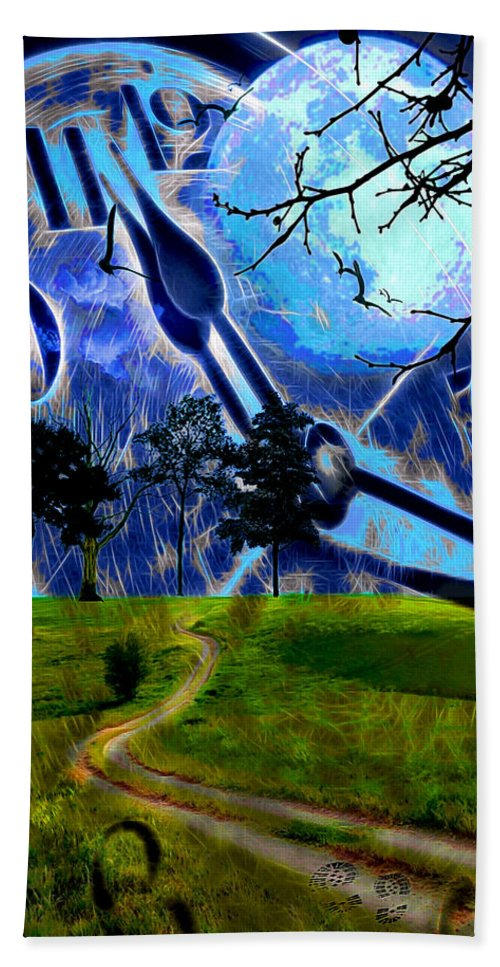 Clock Bath Sheet featuring the digital art Time Travel by Pennie McCracken