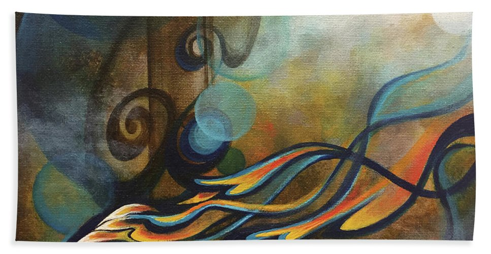 Abstract Hand Towel featuring the painting Time by Vesna Delevska