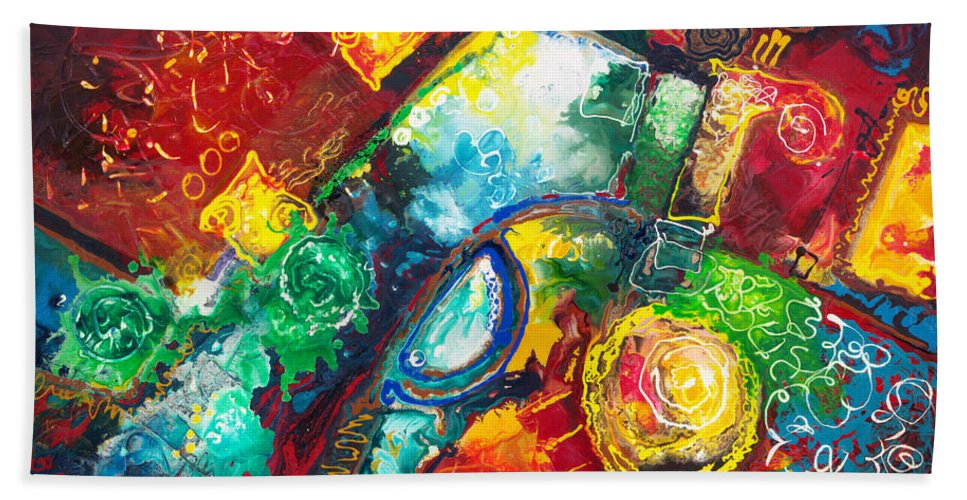 Abstract Contemporary Time Bath Sheet featuring the painting Time Warp by Sally Trace
