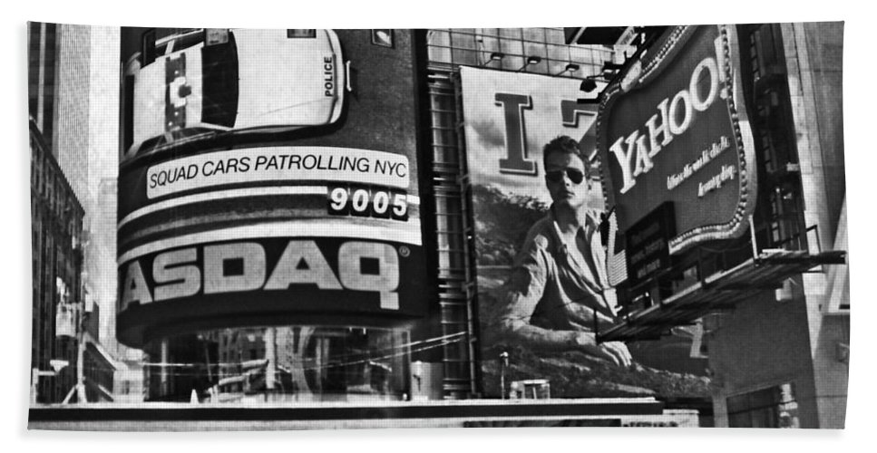 Times Square Bath Sheet featuring the digital art Times Square Black And White by Mary Pille