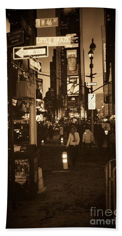 New York Bath Towel featuring the photograph Times Square by Debbi Granruth