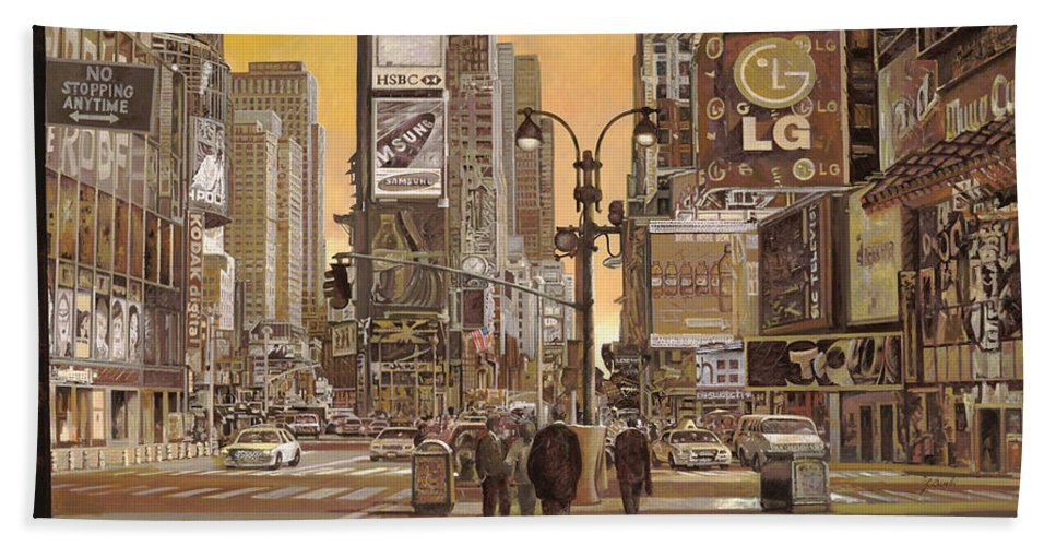 New York Hand Towel featuring the painting Times Square by Guido Borelli