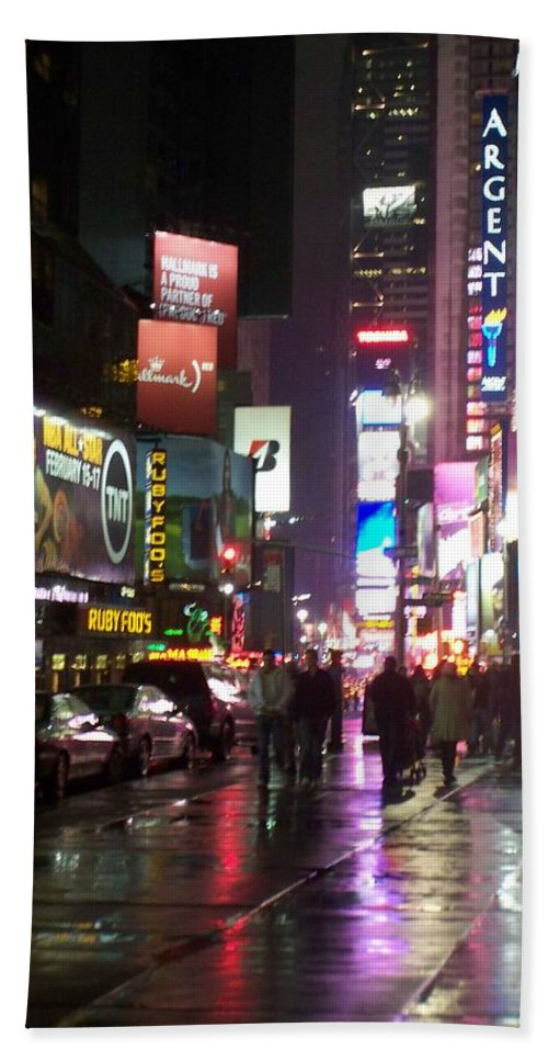 Times Square Bath Towel featuring the photograph Times Square In The Rain 1 by Anita Burgermeister