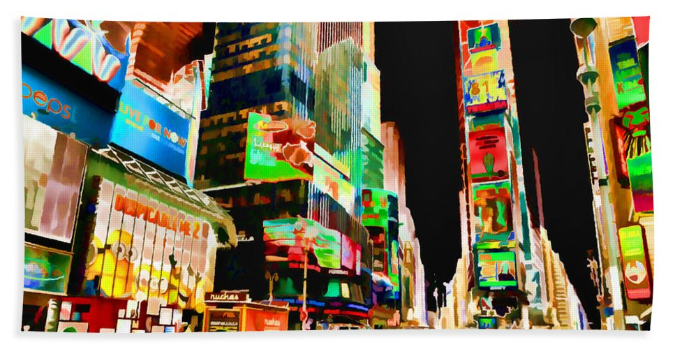 Times Square Bath Sheet featuring the painting Times Square by Jeelan Clark