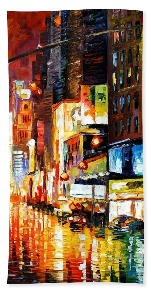 City Hand Towel featuring the painting Times Square by Leonid Afremov