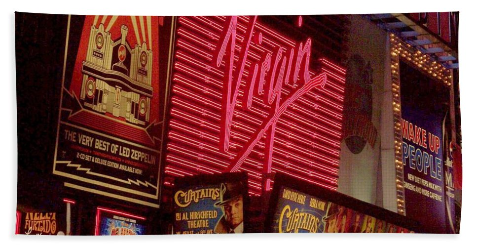 Times Square Hand Towel featuring the photograph Times Square Night by Debbi Granruth