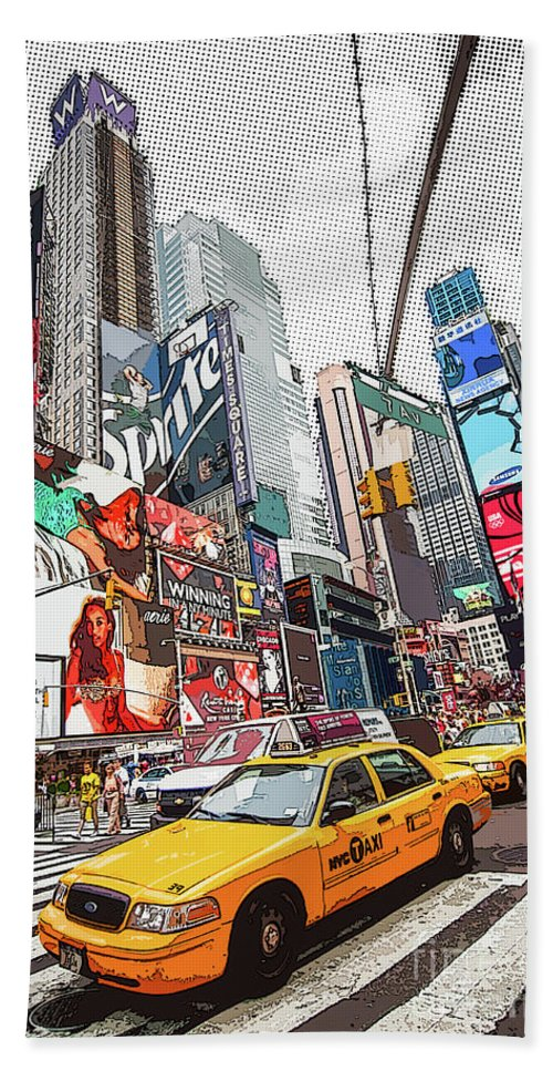 New York Bath Sheet featuring the painting Times Square Pop Art by Delphimages Photo Creations