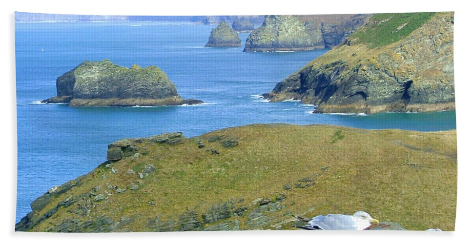 Cornwall Hand Towel featuring the photograph Tintagel by Heather Lennox