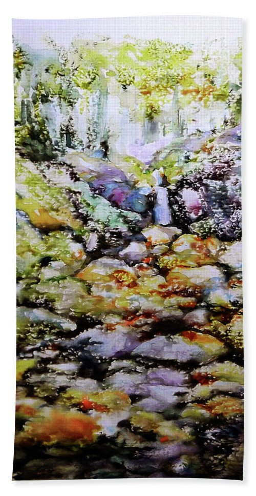 Tiny Brook Hand Towel featuring the painting Tiny Brook by Jongdee Thongkam