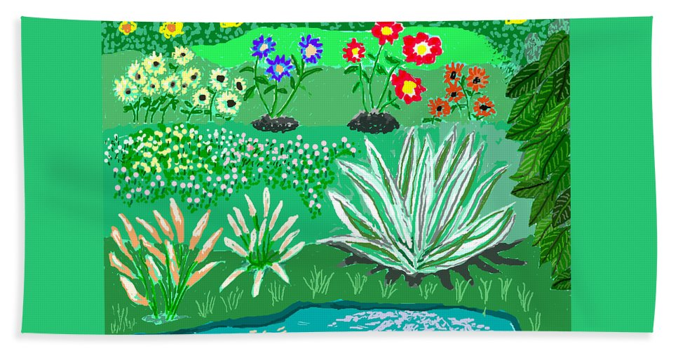 Floral Bath Sheet featuring the painting Tiny Garden by Fred Jinkins