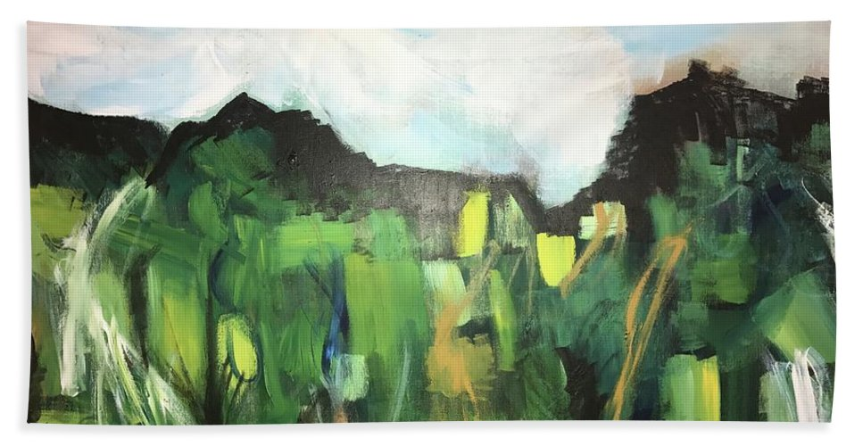 Landscape Bath Sheet featuring the painting Tip Toe by Katy Flach