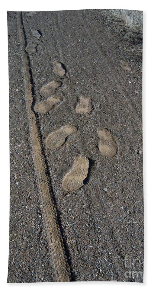Prescott Hand Towel featuring the photograph Tire Tracks And Foot Prints by Heather Kirk