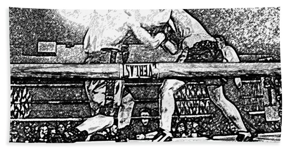 Boxing Bath Sheet featuring the photograph Titans Of The Ring by David Lee Thompson