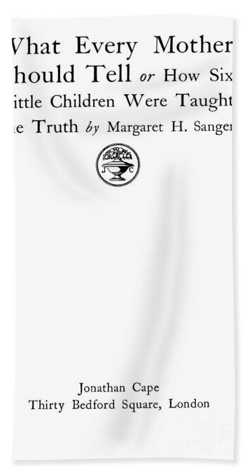 Science Hand Towel featuring the photograph Title Page Of Margaret Sanger by Wellcome Images