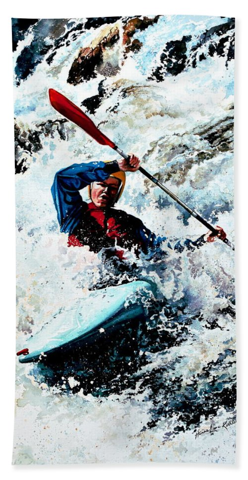 Sports Artist Bath Sheet featuring the painting To Conquer White Water by Hanne Lore Koehler