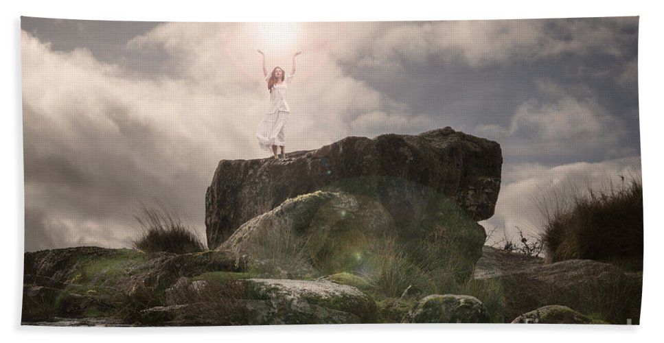 Woman Hand Towel featuring the photograph To Hold The Light by Clayton Bastiani