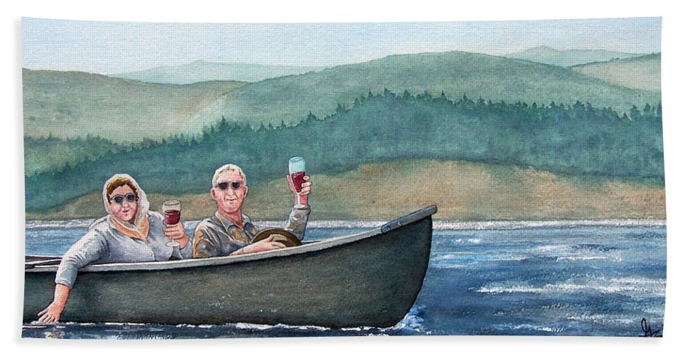 Canoe Hand Towel featuring the painting To Life by Gale Cochran-Smith