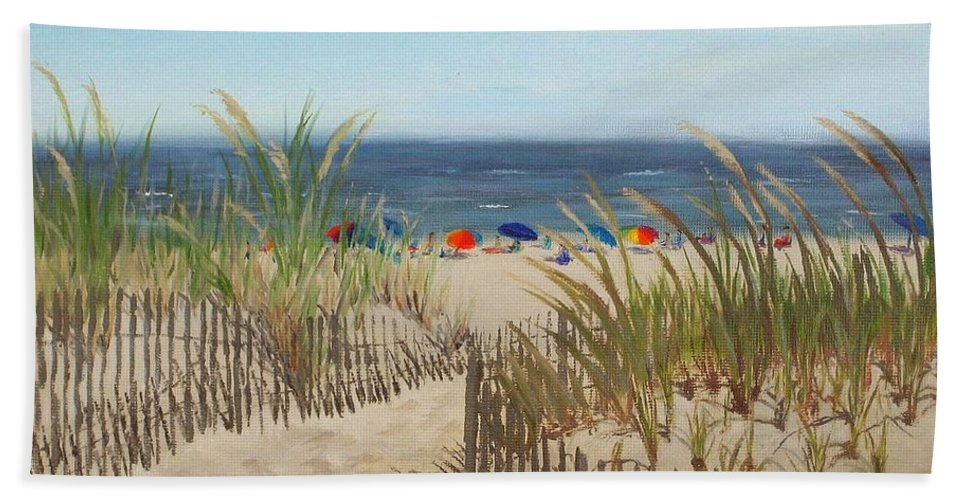Beach Hand Towel featuring the painting To The Beach by Lea Novak