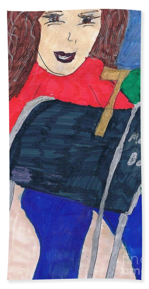 Lady Taking The Mail To The Mailbox Hand Towel featuring the mixed media To The Mailbox by Elinor Helen Rakowski