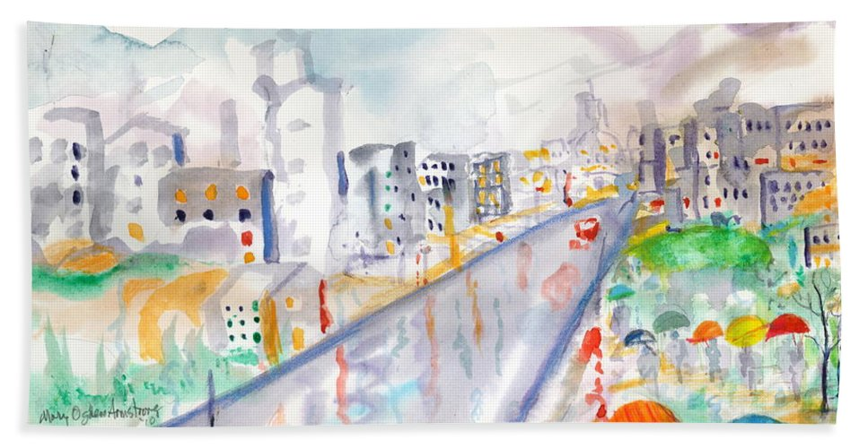 City Hand Towel featuring the painting To The Wet City by Mary Armstrong