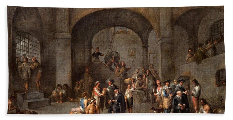 Cornelis De Wael Bath Sheet featuring the painting To Visit The Imprisoned by Cornelis de Wael