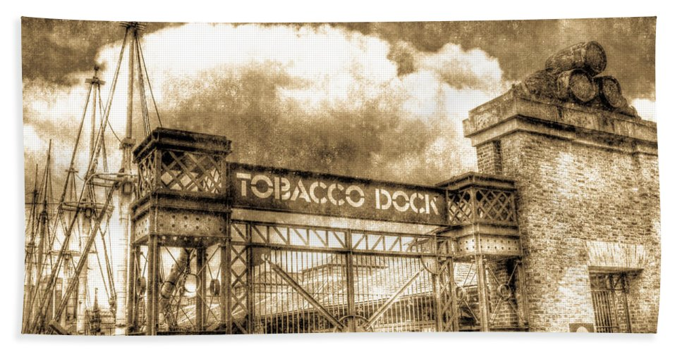 Tobacco Dock Hand Towel featuring the photograph Tobaco Dock London Vintage by David Pyatt