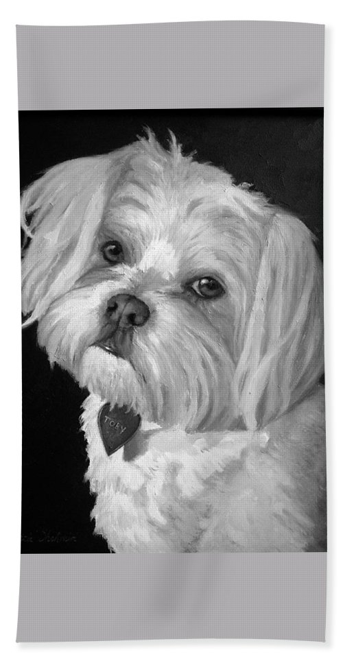 Dogs Bath Sheet featuring the painting Toby by Portraits By NC