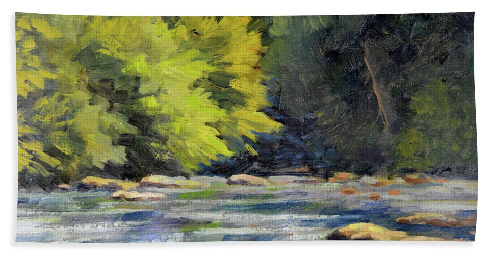 Impressionism Bath Towel featuring the painting Toccoa Rush by Keith Burgess