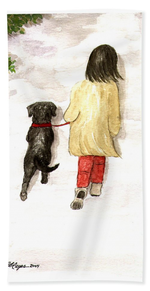 Lab Hand Towel featuring the painting Together - Black Labrador And Woman Walking by Amy Reges