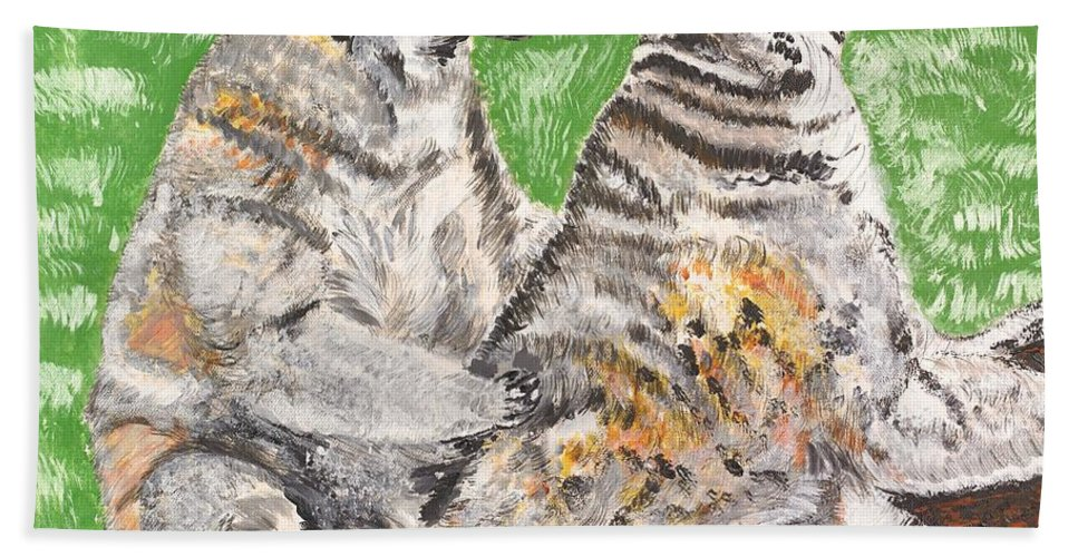 Katta Bath Sheet featuring the painting Together by Valerie Ornstein