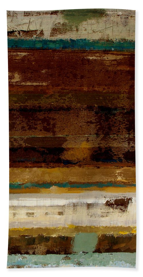 Abstract Bath Sheet featuring the painting Togetherness II by Ruth Palmer