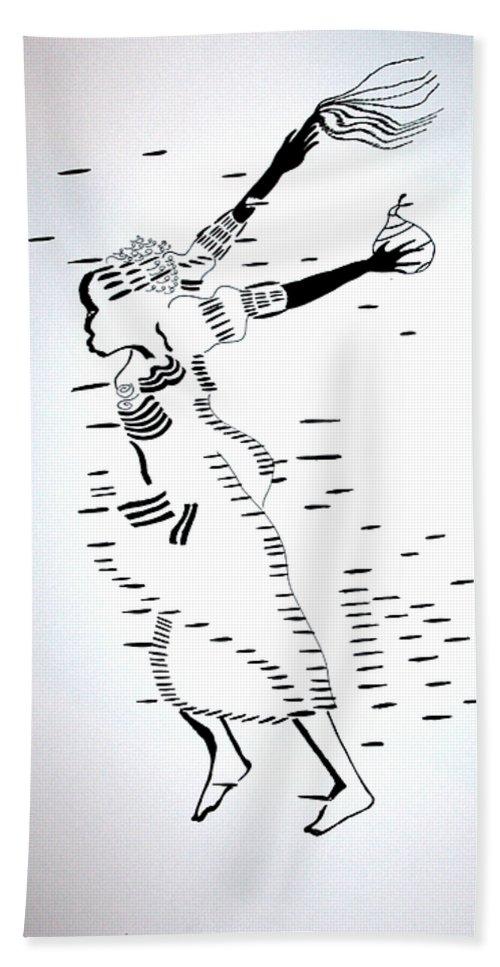Jesus Bath Sheet featuring the drawing Togo Atsiagbekor Dance by Gloria Ssali
