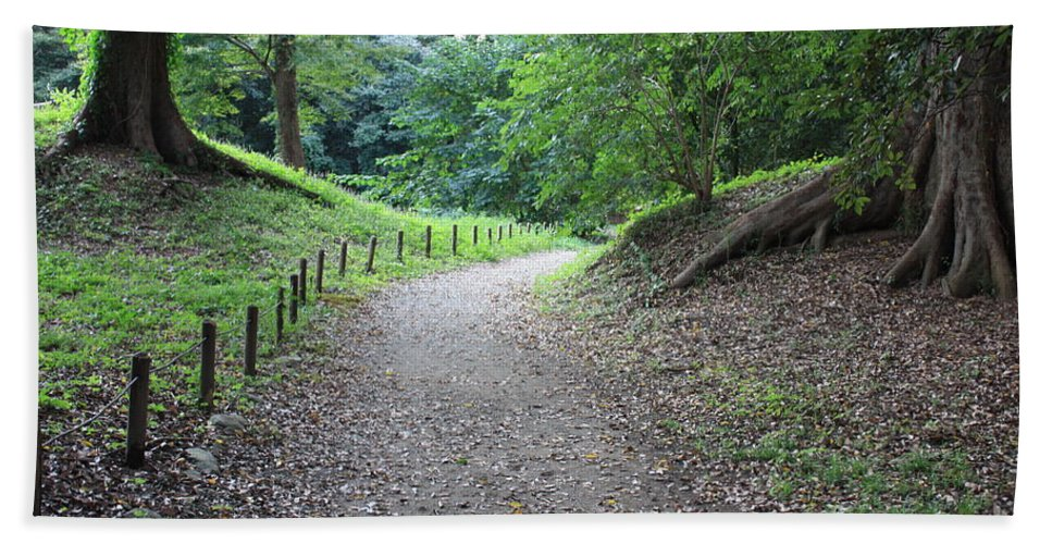 Path Hand Towel featuring the photograph Tokyo Park Path by Carol Groenen