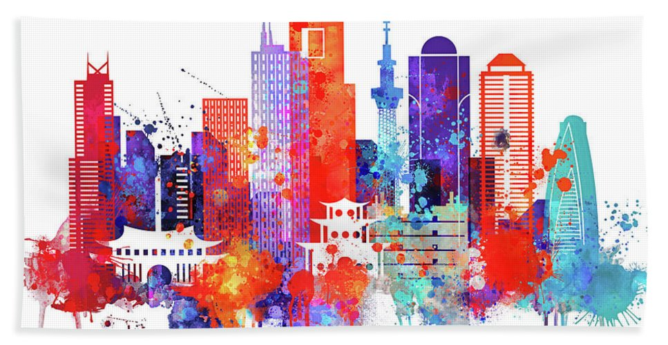 Tokyo Hand Towel featuring the painting Tokyo Watercolor by Dim Dom