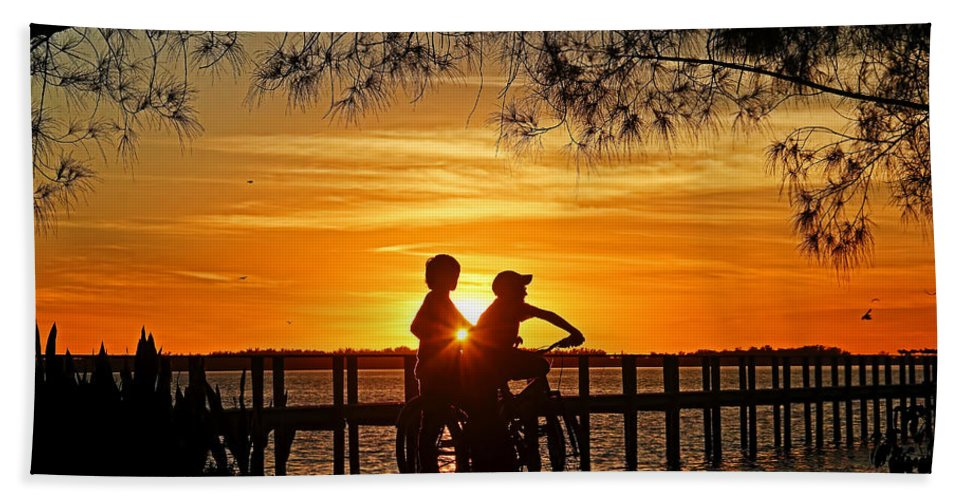 Tropical Sunset Bath Sheet featuring the photograph Tom And Huck by HH Photography of Florida
