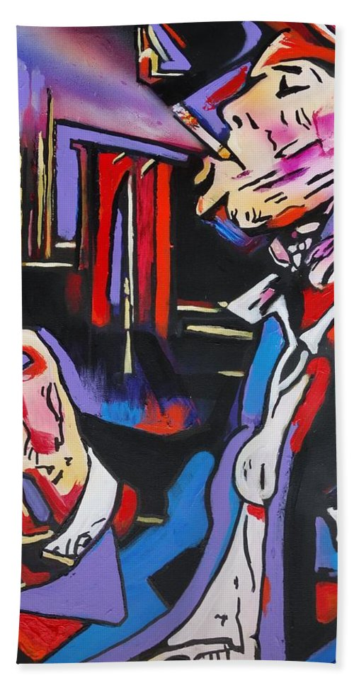 Tom Waits Bath Towel featuring the painting Tom Traubert's Blues by Eric Dee