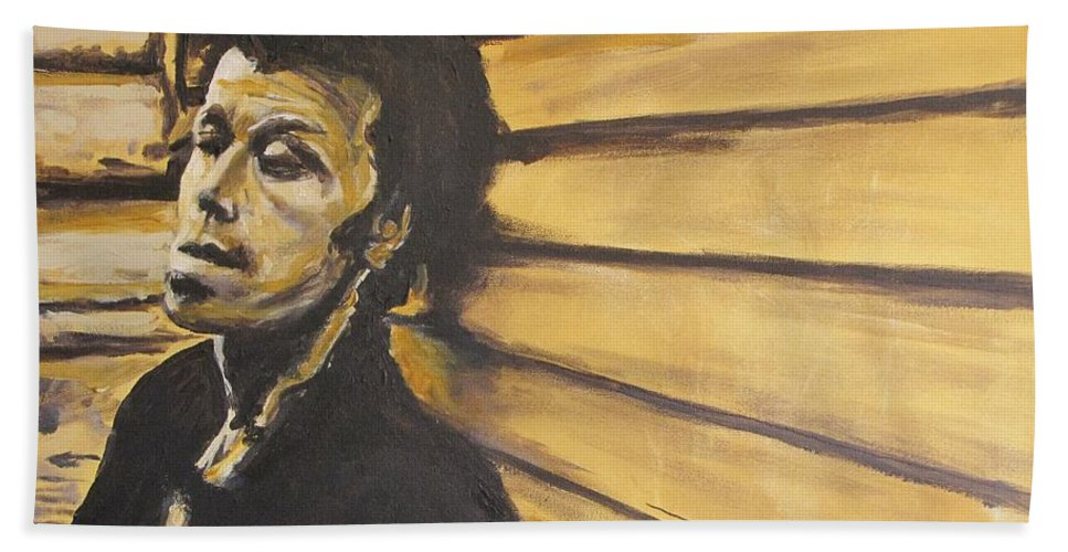 Tom Waits Bath Towel featuring the painting Tom Waits by Eric Dee