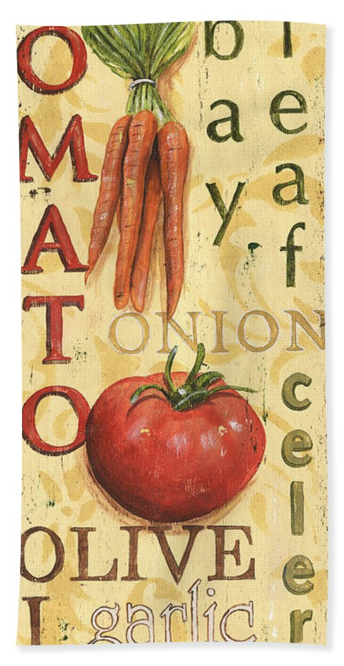 Kitchen Bath Sheet featuring the painting Tomato Soup by Debbie DeWitt