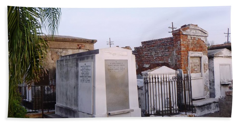 Tombs Hand Towel featuring the photograph Tombs In St. Louis Cemetery by Alys Caviness-Gober
